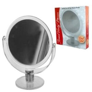 Dual Sided Round Stand Up Vanity Mirror